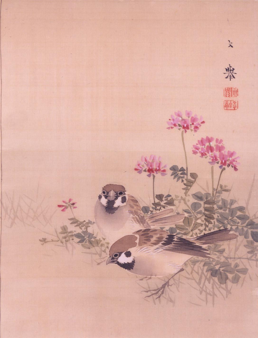 野村文挙「レンゲ草に雀」