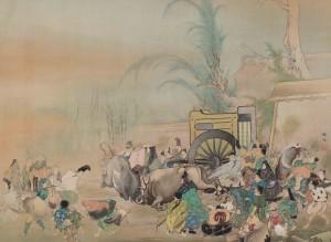 s-春草M27「鎌倉時代闘牛の図」tri2