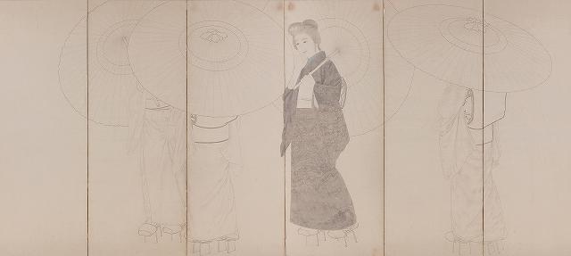 s-No13 s-春草M43「雨中美人(未完・右隻)」