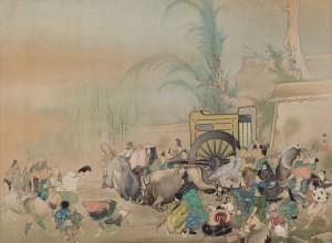 春草M27「鎌倉時代闘牛の図」